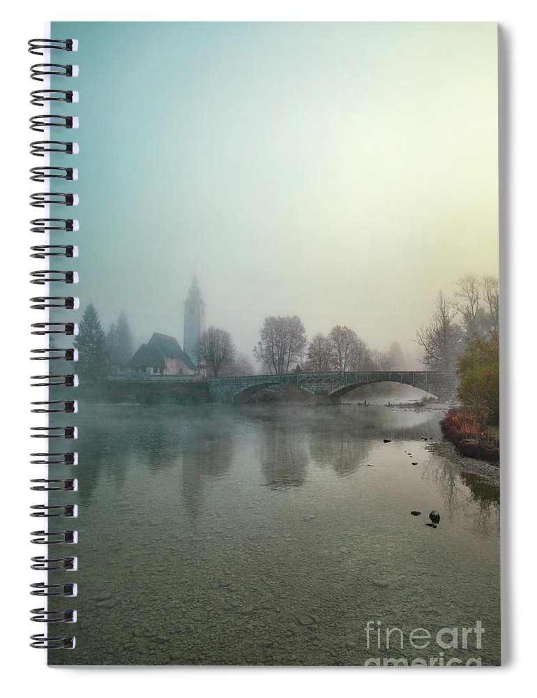 Kremsdorf Spiral Notebook featuring the photograph Mystery By The Lake by Evelina Kremsdorf