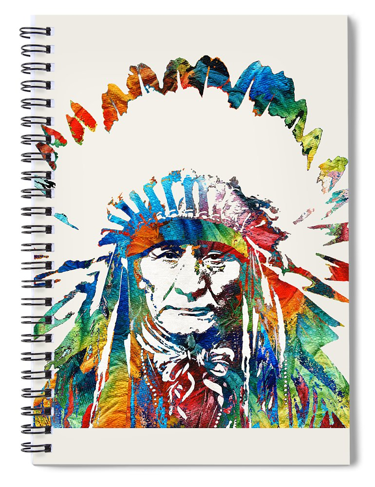 Native American Spiral Notebook featuring the painting Native American Art - Chief - By Sharon Cummings by Sharon Cummings