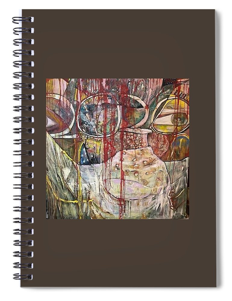 Figurative Spiral Notebook featuring the painting No Peace by Peggy Blood