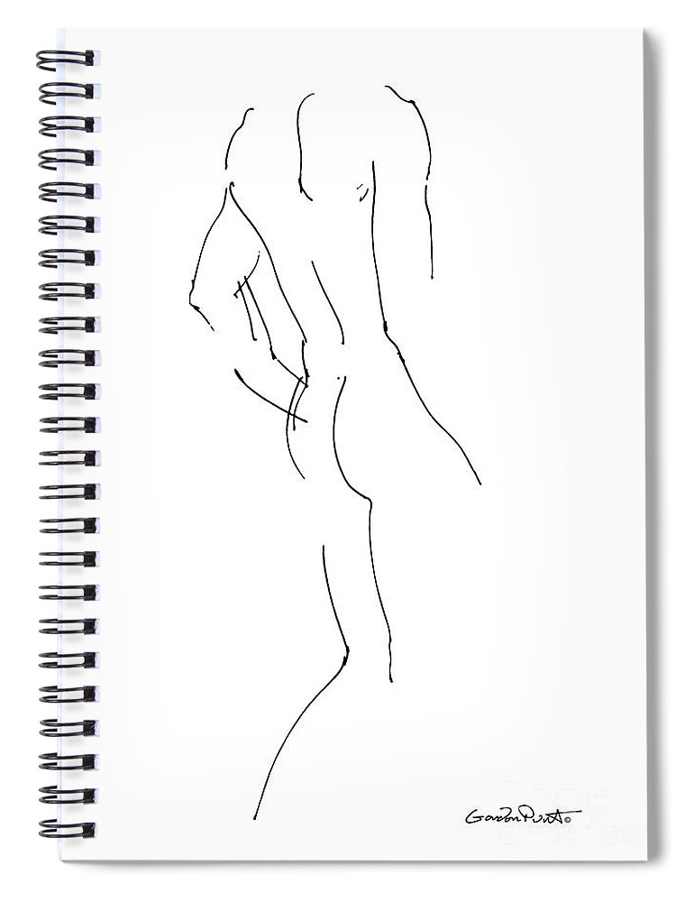 Male Spiral Notebook featuring the drawing Nude Male Drawings 2 by Gordon Punt