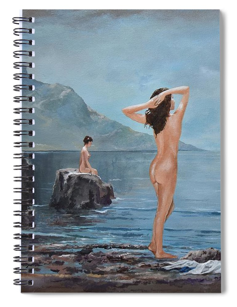 Female Figures Spiral Notebook featuring the painting Nymphs by Sinisa Saratlic