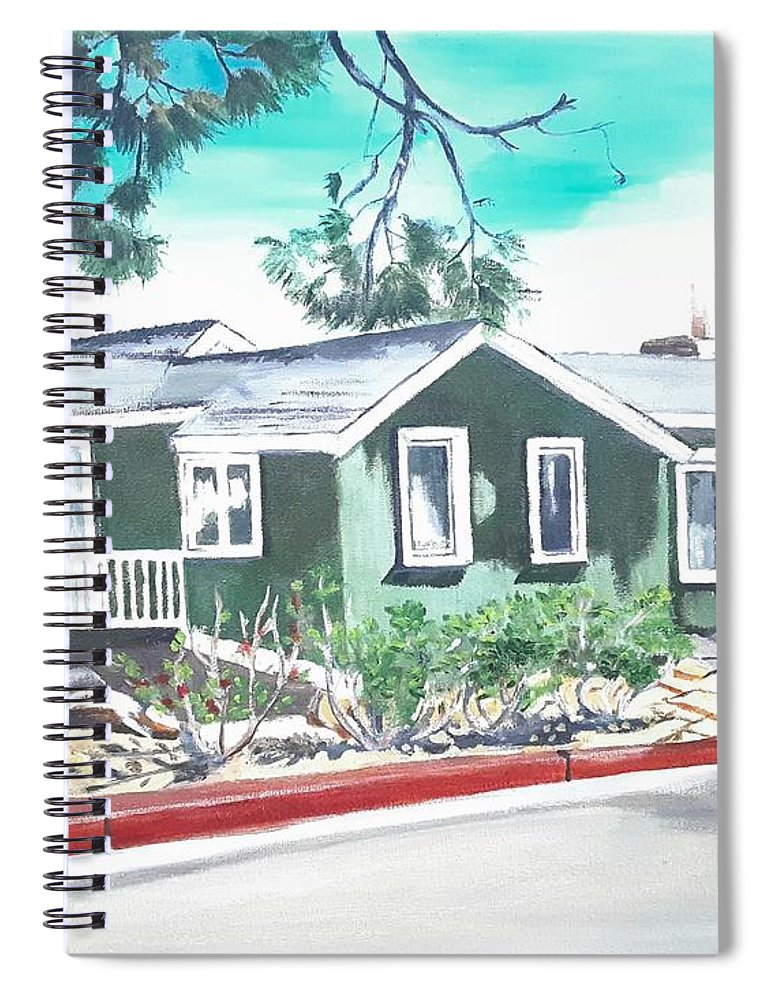 Landscape Spiral Notebook featuring the painting Ocean Front House by Andrew Johnson