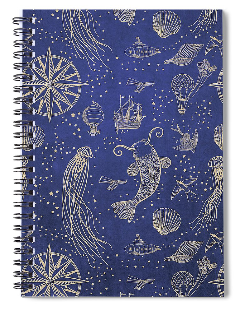 Gold Spiral Notebook featuring the drawing Ocean Meets Sky - Hardcase by Eric Fan