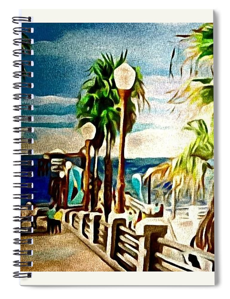 Landscape Spiral Notebook featuring the painting Oceanside Peir by Andrew Johnson