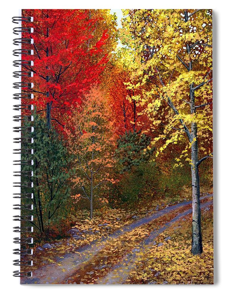 Landscape Spiral Notebook featuring the painting October Road by Frank Wilson