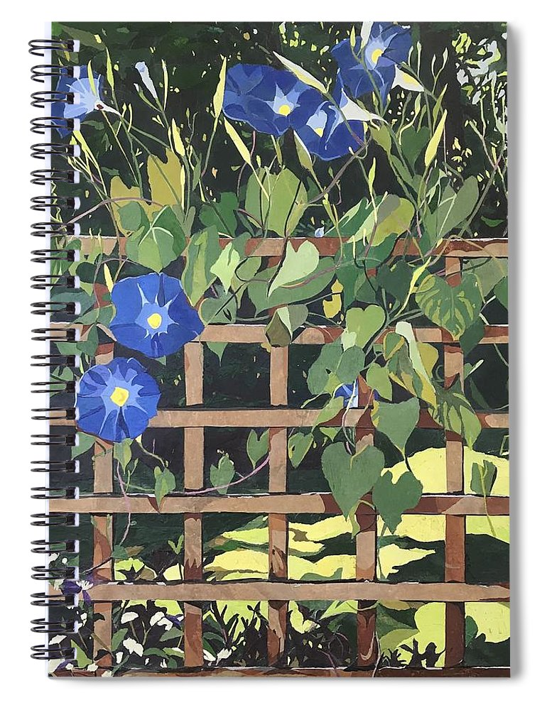 Floral Spiral Notebook featuring the mixed media Oh Morning Glories by Leah Tomaino