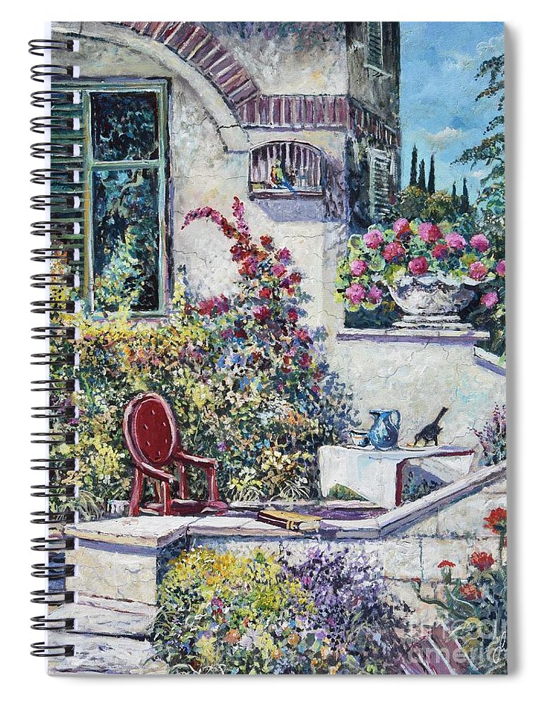 Original Painting Spiral Notebook featuring the painting On The Porch by Sinisa Saratlic