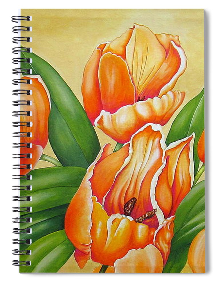 Tulips Spiral Notebook featuring the painting One's Nearer God's Heart in the Garden by Carol Sabo