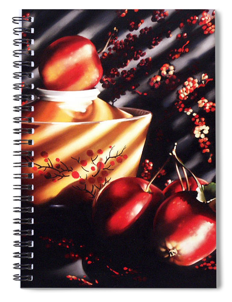 Oriental Spiral Notebook featuring the pastel Ornamental Crabapples by Dianna Ponting