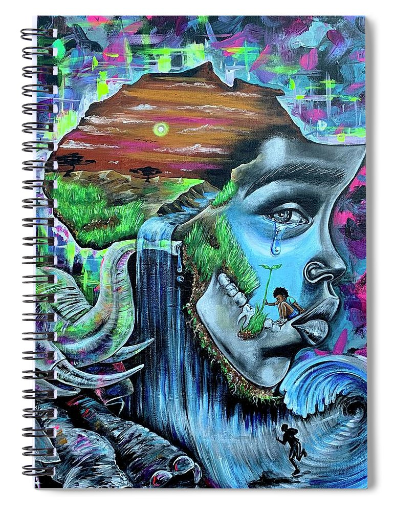 Bhm Spiral Notebook featuring the painting Our History- BHM by Artist RiA