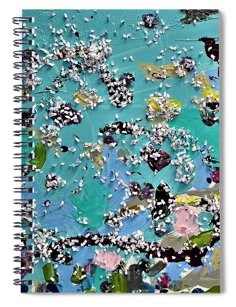 Blue Spiral Notebook featuring the painting Party Time by Pam Roth O'Mara