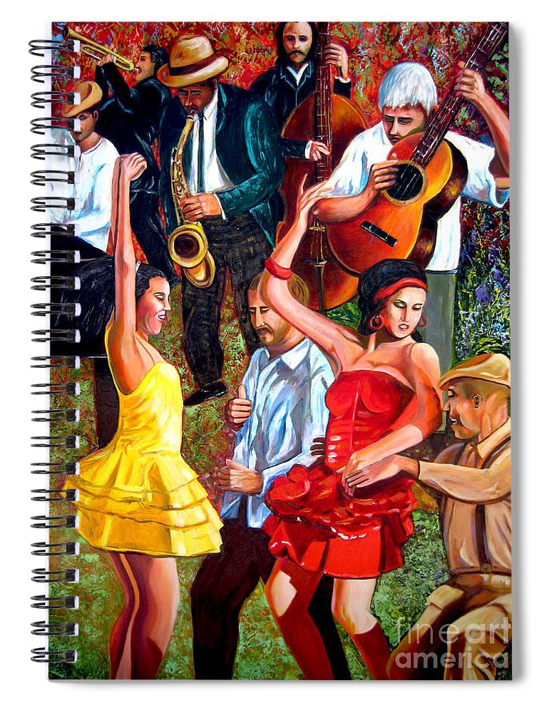 Cuban Art Spiral Notebook featuring the painting Party times by Jose Manuel Abraham