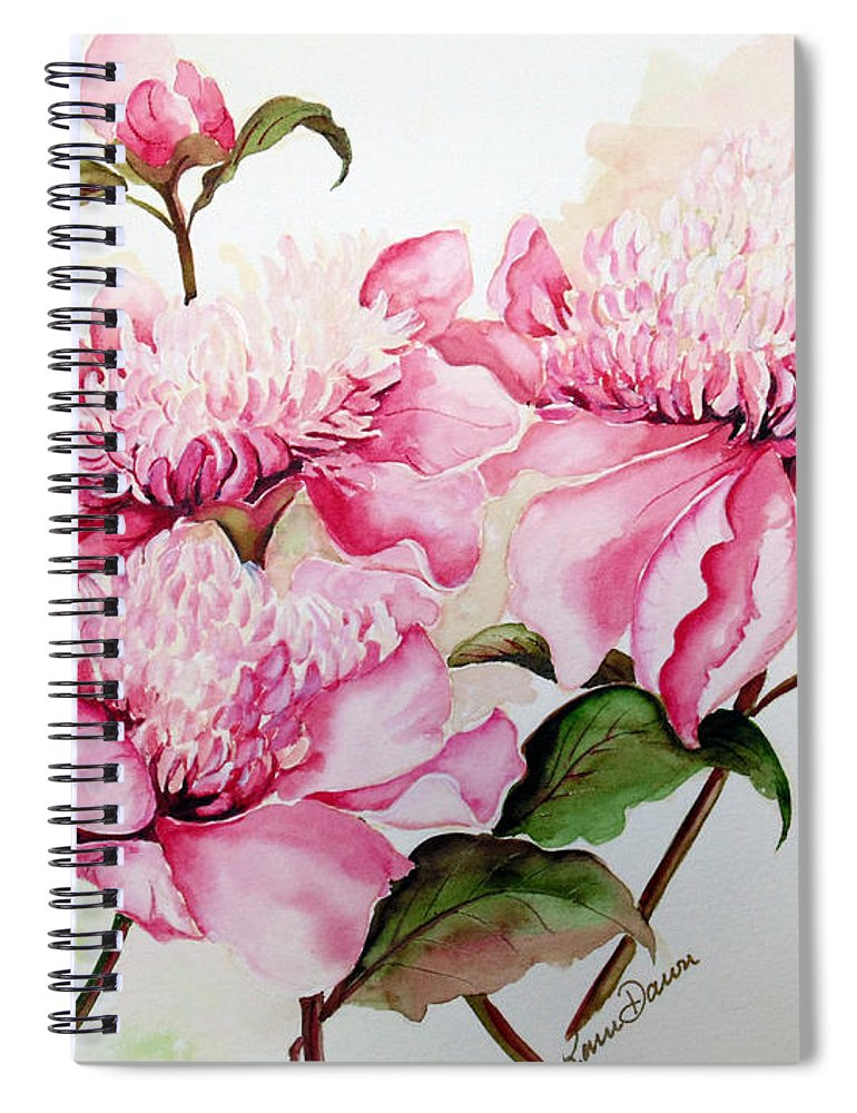 Flower Painting Flora Painting Pink Peonies Painting Botanical Painting Flower Painting Pink Painting Greeting Card Painting Pink Peonies Spiral Notebook featuring the painting Peonies by Karin Dawn Kelshall- Best