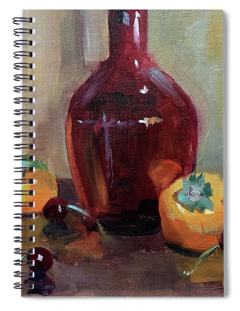 Spiral Notebook featuring the painting Persimmon Sweetness by Karen Jordan