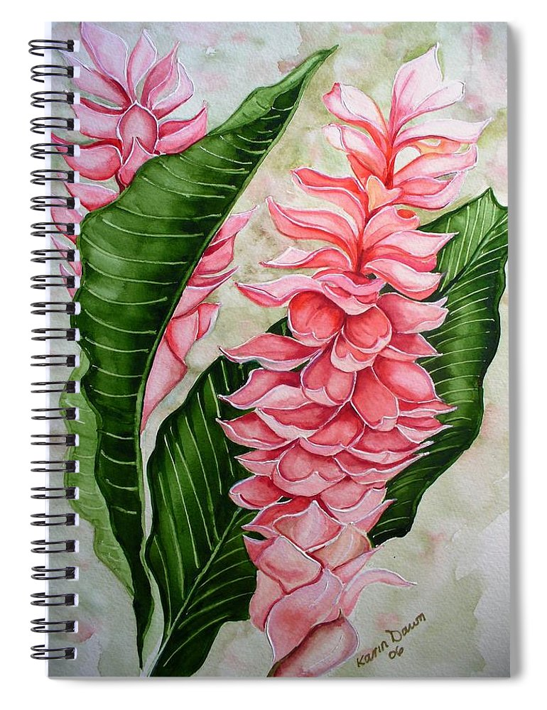 Flower Painting Floral Painting Botanical Painting Ginger Lily Painting Original Watercolor Painting Caribbean Painting Tropical Painting Spiral Notebook featuring the painting Pink Ginger Lilies by Karin Dawn Kelshall- Best