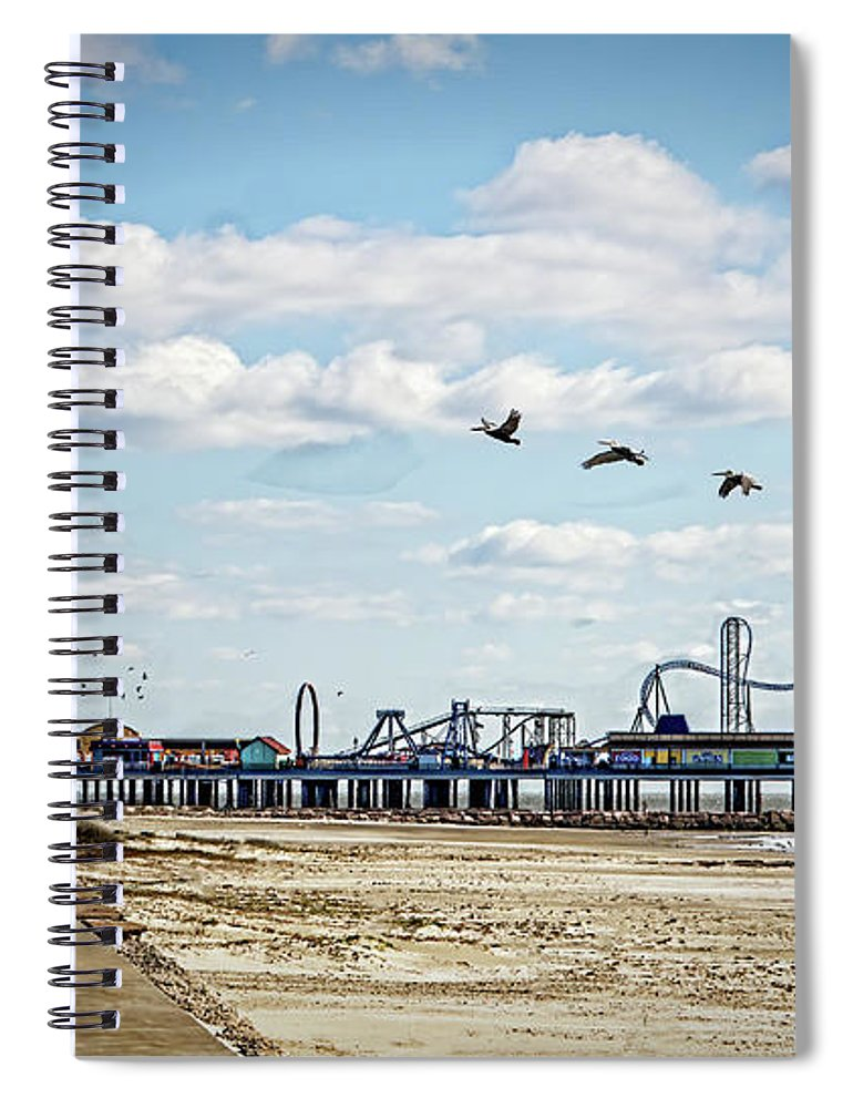 Pier Spiral Notebook featuring the photograph Pleasure Pier by Linda Lee Hall