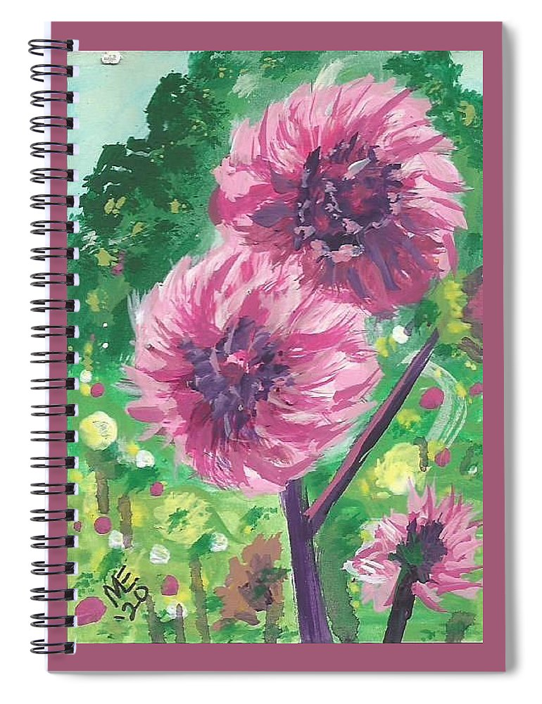 Pompon Dahlias Spiral Notebook featuring the painting Pompon Dahlias by Monica Resinger