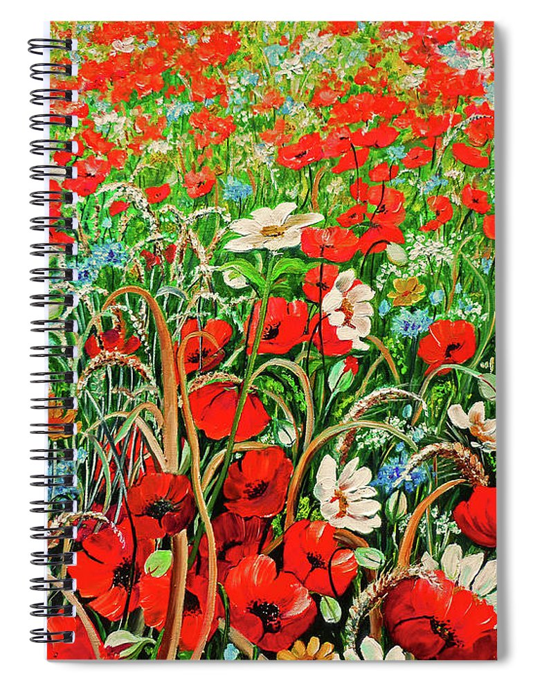 Floral Painting Flower Painting Red Poppies Painting Daisy Painting Field Poppies Painting Field Poppies Floral Flowers Wild Botanical Painting Red Painting Greeting Card Painting Spiral Notebook featuring the painting Poppies In The Wild by Karin Dawn Kelshall- Best