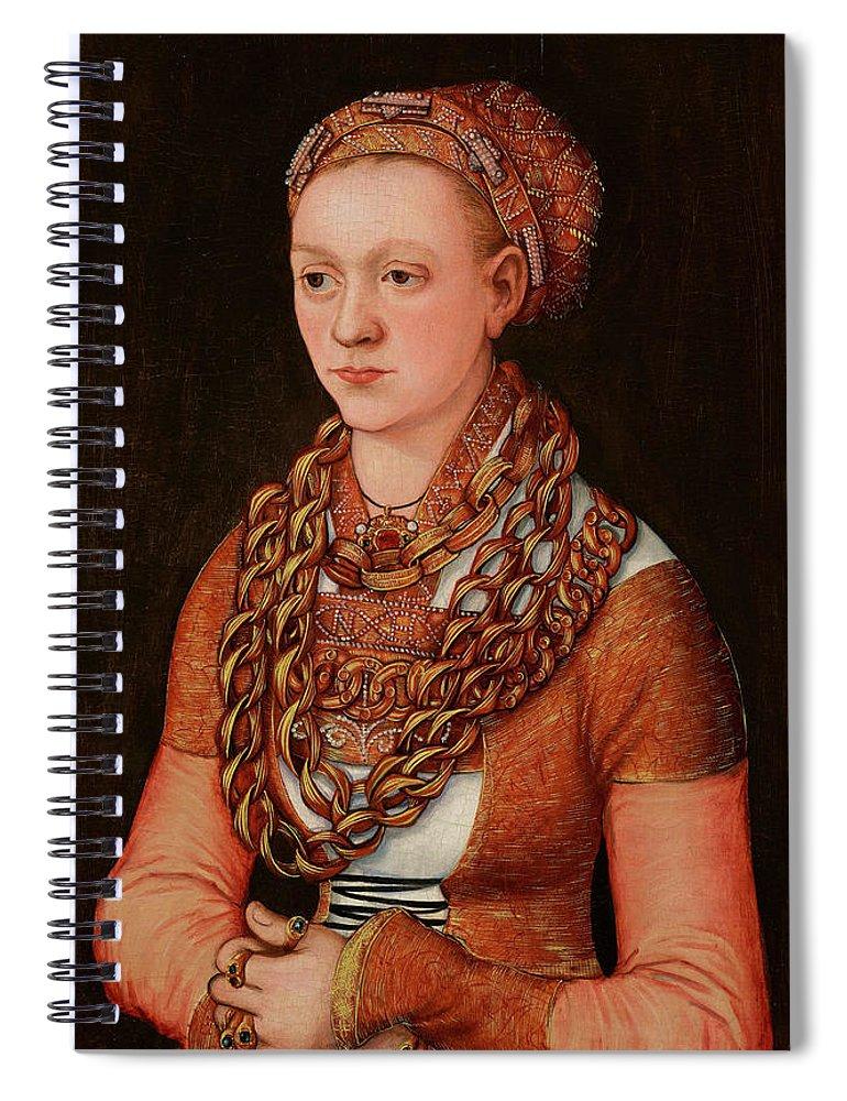 Lucas Cranach The Elder Spiral Notebook featuring the painting Portrait Of Anna Buchner, Nee Lindacker, 1520 by Lucas Cranach the Elder