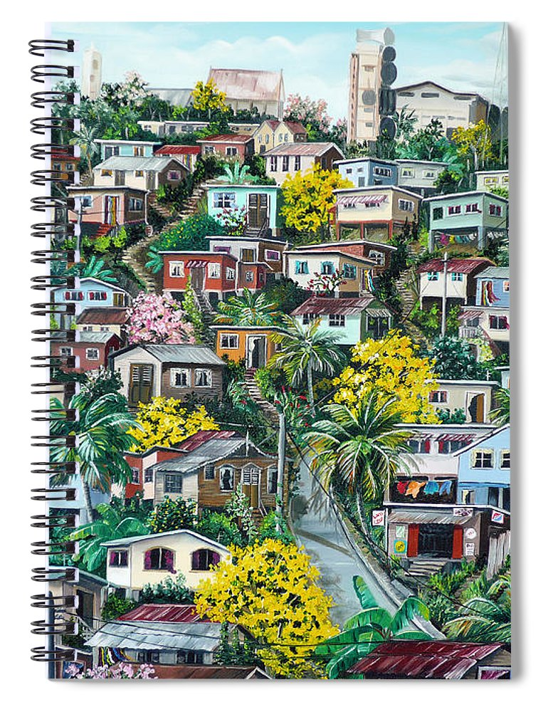 Landscape Painting Cityscape Painting Original Oil Painting  Blossoming Poui Tree Painting Lavantille Hill Trinidad And Tobago Painting Caribbean Painting Tropical Painting Spiral Notebook featuring the painting Poui On The Hill by Karin Dawn Kelshall- Best