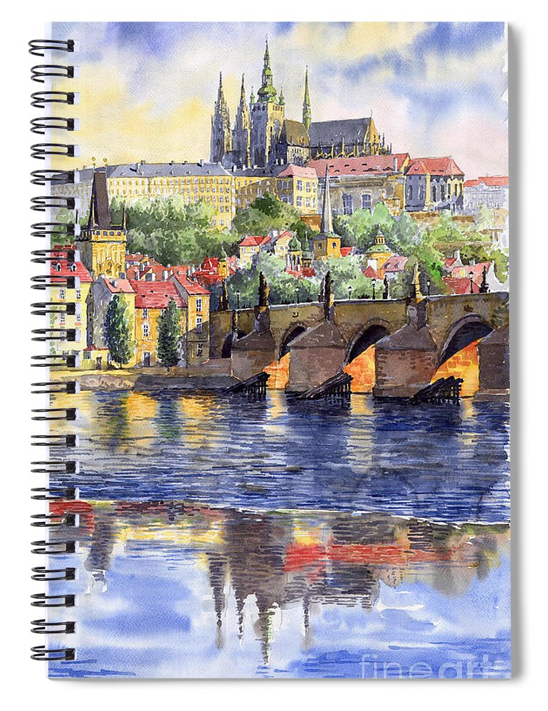 Watercolour Watercolor Prague Praha Cityscape Castle Old City Hous Bridge Spiral Notebook featuring the painting Prague Castle with the Vltava River 1 by Yuriy Shevchuk