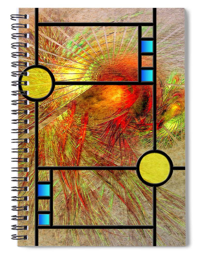 Frank Lloyd Wright Spiral Notebook featuring the digital art Prairie View - Square Version by Studio B Prints