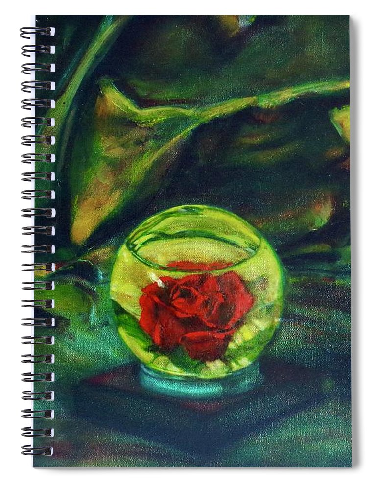 Oil Painting On Canvas Spiral Notebook featuring the painting Preserved Rose . . Draped Canvas by Sean Connolly
