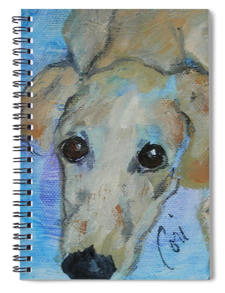 Acrylic Spiral Notebook featuring the drawing Pupster by Cori Solomon
