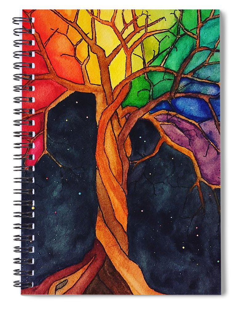 Rainbow Spiral Notebook featuring the painting Rainbow Tree with Night Sky by Vonda Drees