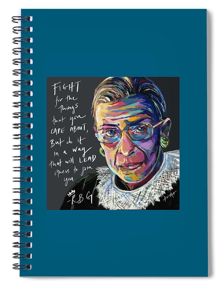 Rbg Spiral Notebook featuring the digital art RBG Legacy by Aviva Weinberg