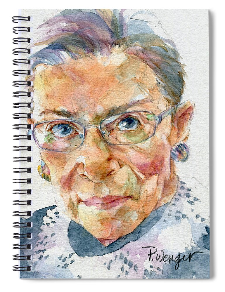 Ruth Bader Ginsburg Spiral Notebook featuring the painting Ruth Bader Ginsburg Tribute by Pam Wenger