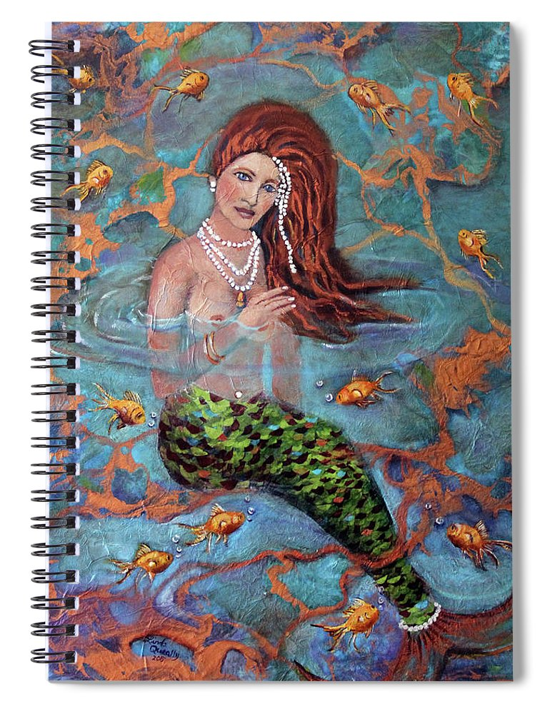 Blue Spiral Notebook featuring the painting Red Headed Mermaid Ophelia Painting by Linda Queally by Linda Queally