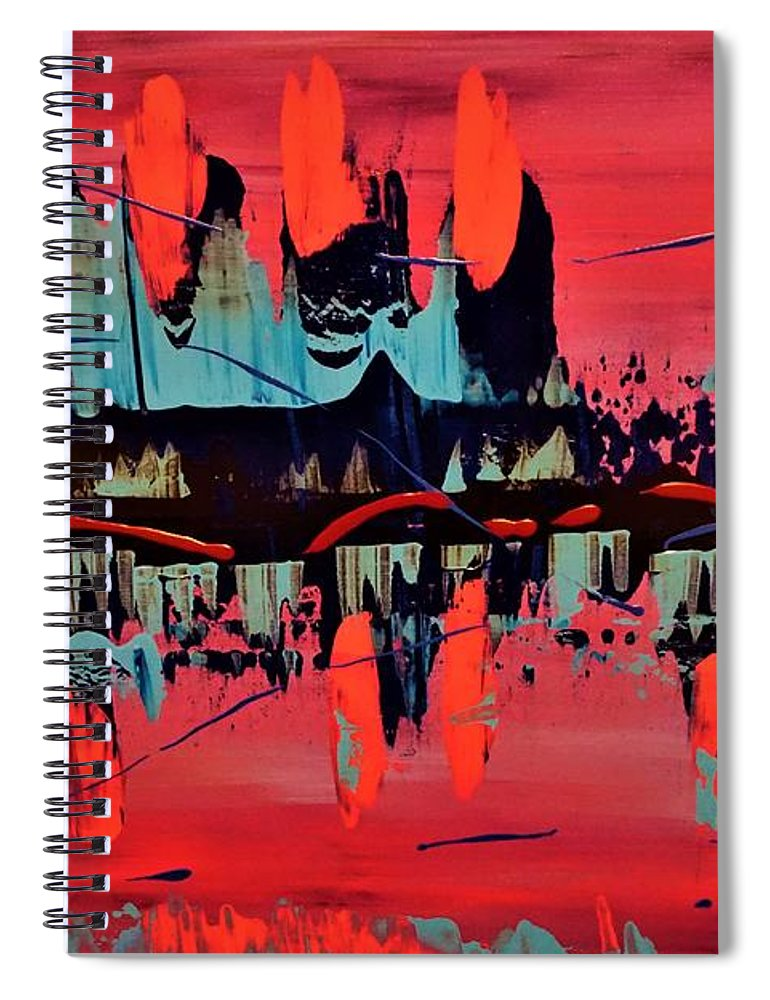 Red Spiral Notebook featuring the painting RED by Jimmy Clark