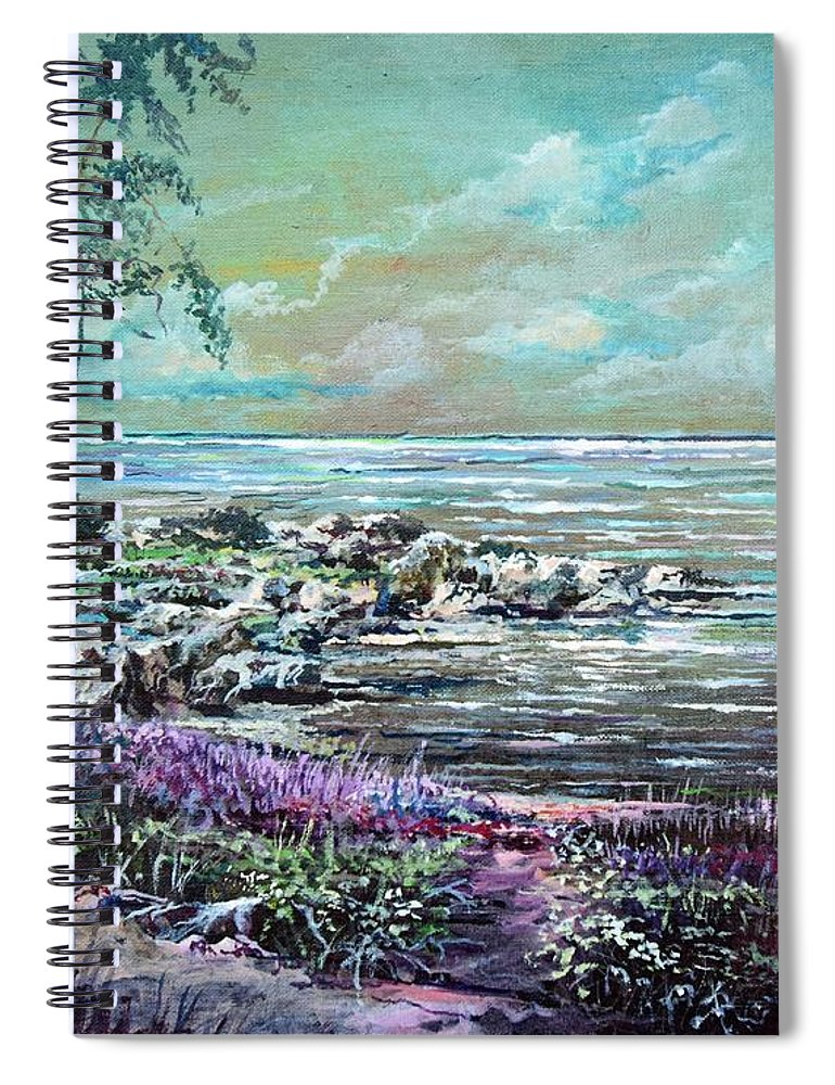 Nature Spiral Notebook featuring the painting Reflections by Sinisa Saratlic