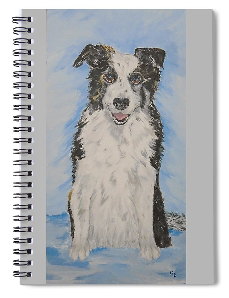 Australian Shepherd Spiral Notebook featuring the painting Reno by Georgia Donovan