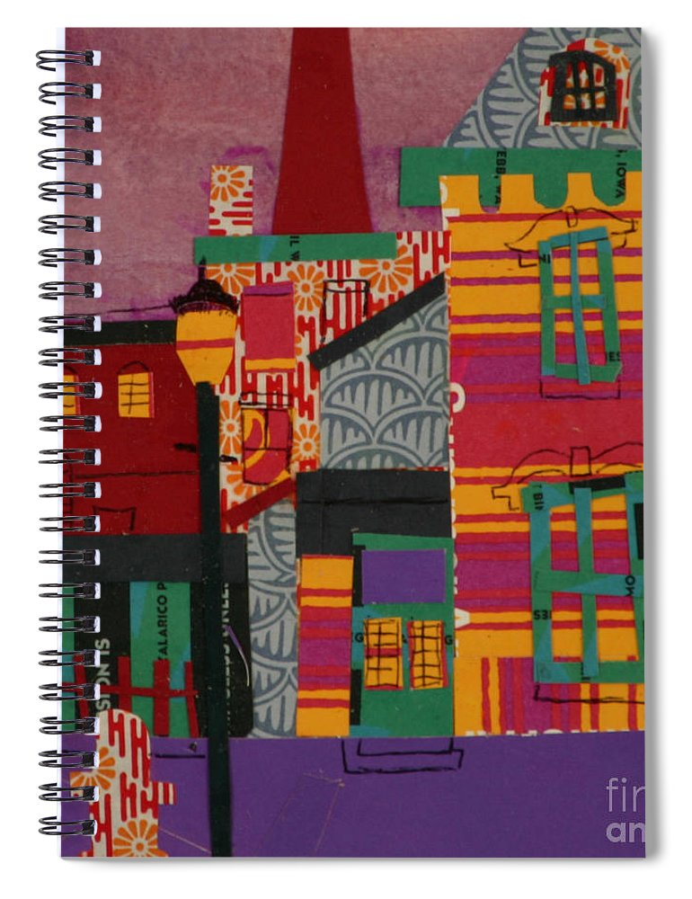 Lowell Spiral Notebook featuring the mixed media Revolving Museum by Debra Bretton Robinson