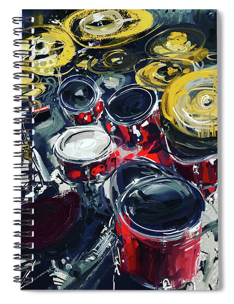 Drums Spiral Notebook featuring the mixed media Rockin Red Drums by Russell Pierce