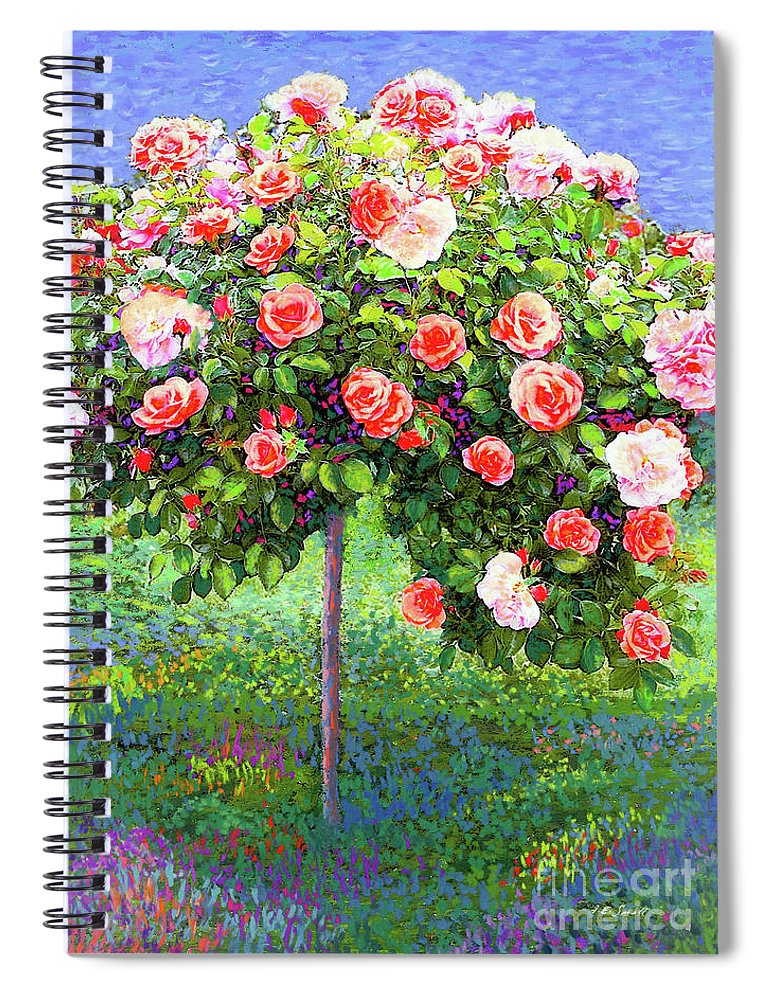 Landscape Spiral Notebook featuring the painting Rose Tree Reverie by Jane Small