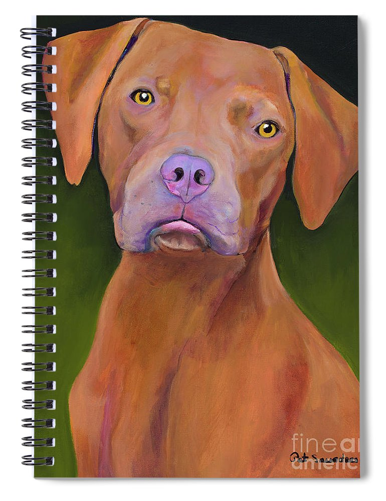 Custom Pet Portrait Spiral Notebook featuring the painting Rupert by Pat Saunders-White