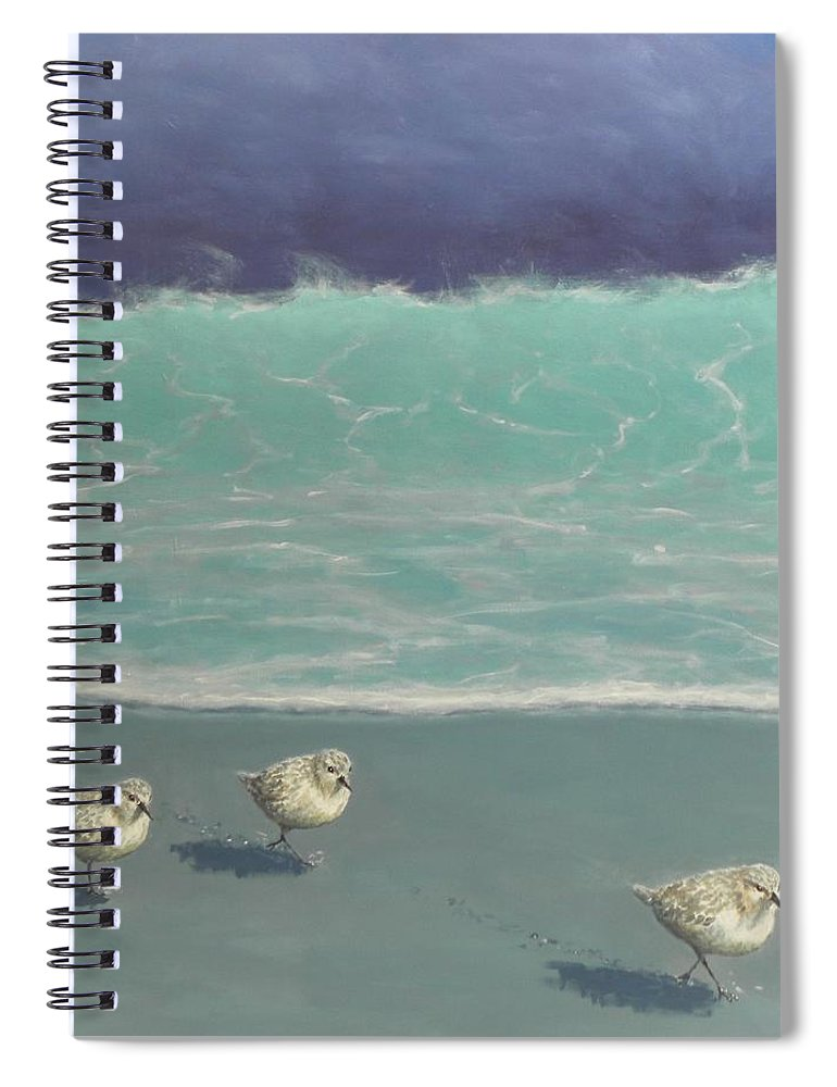 Sandpipers Spiral Notebook featuring the painting Sandpipers by Paul Emig