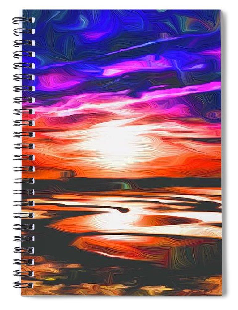Landscape Spiral Notebook featuring the digital art Sands Beach by Michael Stothard