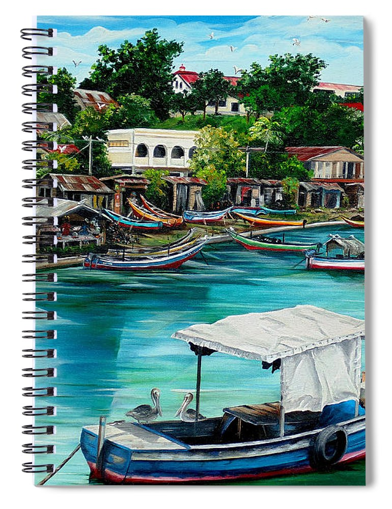Ocean Painting Sea Scape Painting Fishing Boat Painting Fishing Village Painting Sanfernando Trinidad Painting Boats Painting Caribbean Painting Original Oil Painting Of The Main Southern Town In Trinidad  Artist Pob Spiral Notebook featuring the painting Sanfernando Wharf by Karin Dawn Kelshall- Best