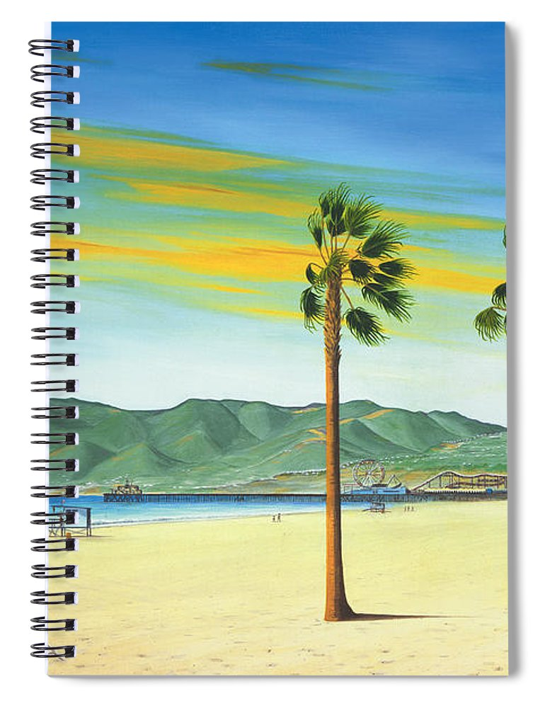 Santa Monica Spiral Notebook featuring the painting Santa Monica by Jerome Stumphauzer