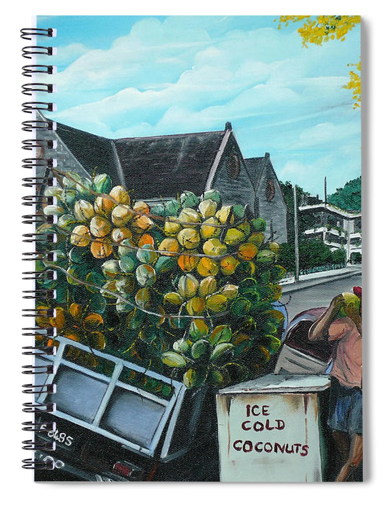 Caribbean Painting Coconuts Vendor Trinidad And Tobago Painting Savannah Paintings  Poui Tree Painting Tropical Painting Spiral Notebook featuring the painting Savannah Coconut Vendor by Karin Dawn Kelshall- Best