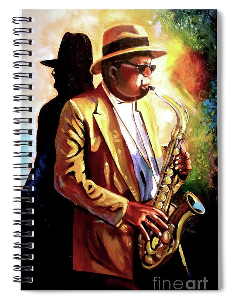 Sax Spiral Notebook featuring the painting Sax Player by Jose Manuel Abraham