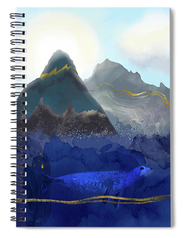 Rising Oceans Spiral Notebook featuring the digital art Seal Under a Melting Glacier by Andreea Dumez