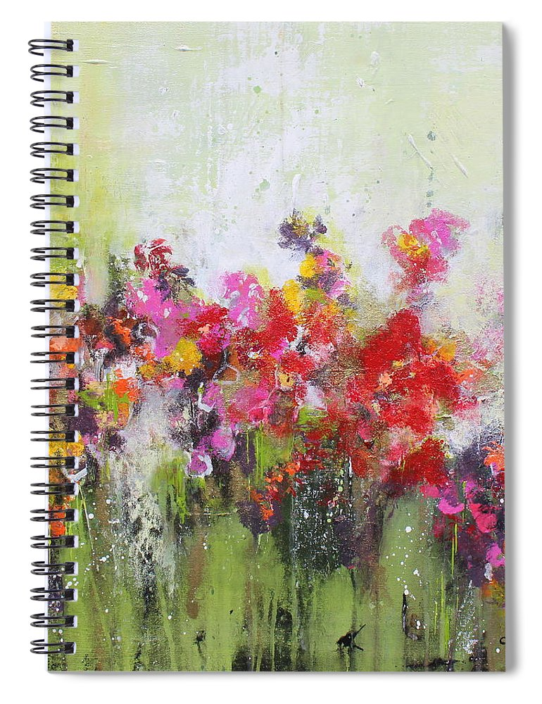 Flowers Spiral Notebook featuring the mixed media Seeds of love by Claudia Gantenbein