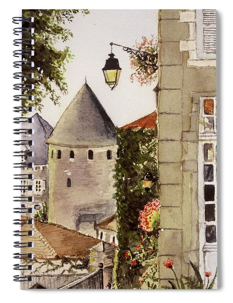 France Spiral Notebook featuring the painting Semur en Auxois by Mary Ellen Mueller Legault