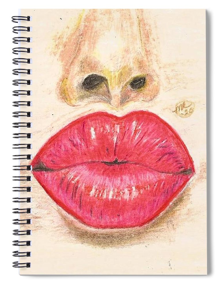 Sexy Red Lips Spiral Notebook featuring the painting Sexy Red Lips by Monica Resinger