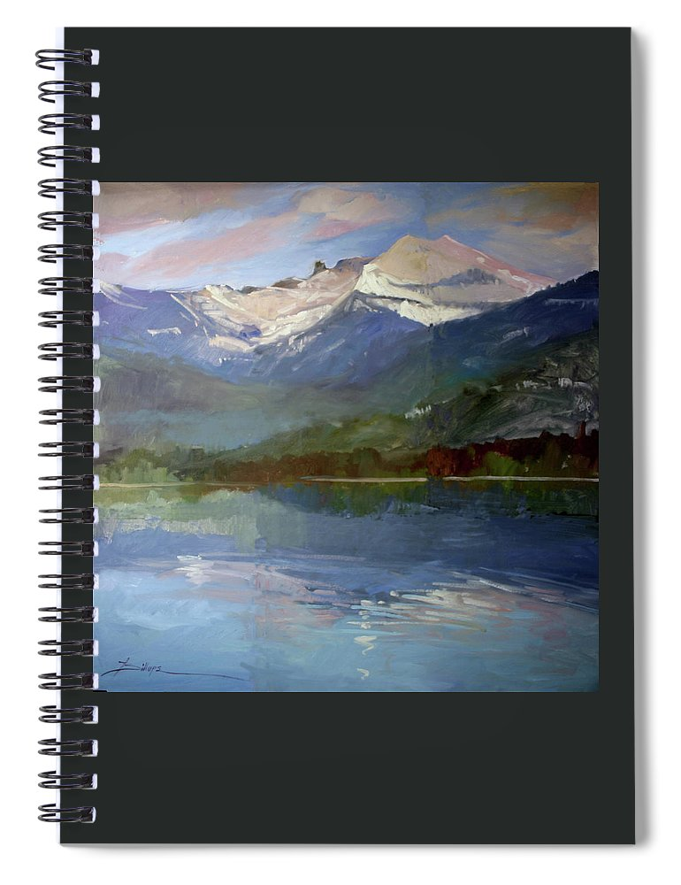 Murals Spiral Notebook featuring the painting Shadows of Winter, Chimney Rock, Priest Lake by Betty Jean Billups